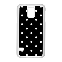 Flower Frame Floral Polkadot White Black Samsung Galaxy S5 Case (white) by Mariart