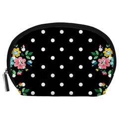 Flower Frame Floral Polkadot White Black Accessory Pouches (large)  by Mariart