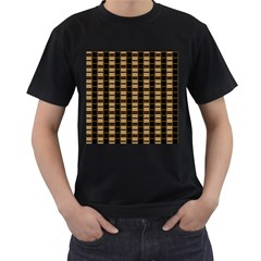 Geometric Shapes Plaid Line Men s T Shirt (black) (two Sided)