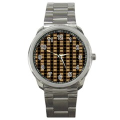 Geometric Shapes Plaid Line Sport Metal Watch