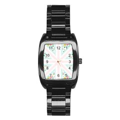 Frame Flower Floral Sunflower Line Stainless Steel Barrel Watch