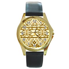 Geometric Seamless Aztec Gold Round Gold Metal Watch by Mariart