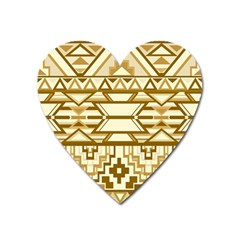Geometric Seamless Aztec Gold Heart Magnet by Mariart