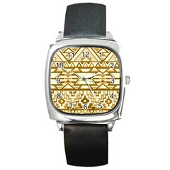 Geometric Seamless Aztec Gold Square Metal Watch by Mariart