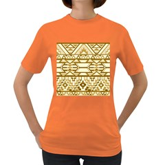 Geometric Seamless Aztec Gold Women s Dark T Shirt by Mariart