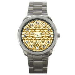 Geometric Seamless Aztec Gold Sport Metal Watch by Mariart