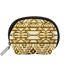 Geometric Seamless Aztec Gold Accessory Pouches (small)  by Mariart