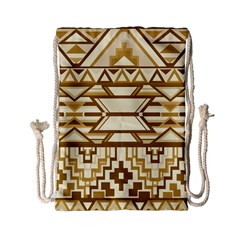 Geometric Seamless Aztec Gold Drawstring Bag (small) by Mariart