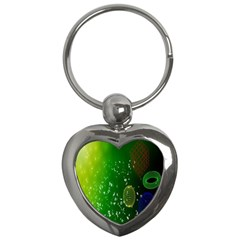 Geometric Shapes Letters Cubes Green Blue Key Chains (heart)