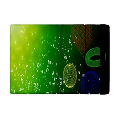 Geometric Shapes Letters Cubes Green Blue Ipad Mini 2 Flip Cases by Mariart