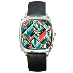 German Synth Stock Music Plaid Square Metal Watch by Mariart