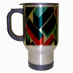German Synth Stock Music Plaid Travel Mug (silver Gray) by Mariart