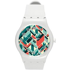 German Synth Stock Music Plaid Round Plastic Sport Watch (m) by Mariart