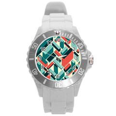 German Synth Stock Music Plaid Round Plastic Sport Watch (l) by Mariart