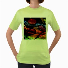 Graphic Shapes Experimental Rainbow Color Women s Green T Shirt