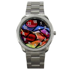 Graphic Shapes Experimental Rainbow Color Sport Metal Watch