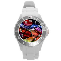 Graphic Shapes Experimental Rainbow Color Round Plastic Sport Watch (l) by Mariart