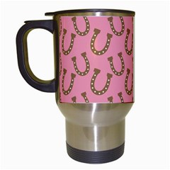 Horse Shoes Iron Pink Brown Travel Mugs (white) by Mariart