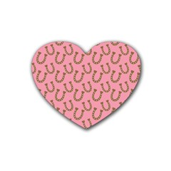Horse Shoes Iron Pink Brown Rubber Coaster (heart)  by Mariart