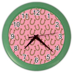 Horse Shoes Iron Pink Brown Color Wall Clocks by Mariart