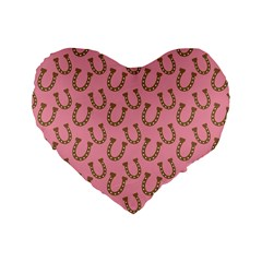 Horse Shoes Iron Pink Brown Standard 16  Premium Heart Shape Cushions by Mariart