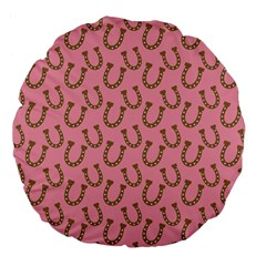Horse Shoes Iron Pink Brown Large 18  Premium Flano Round Cushions by Mariart