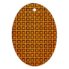 Halloween Squares Plaid Orange Ornament (oval) by Mariart