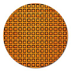 Halloween Squares Plaid Orange Magnet 5  (round) by Mariart