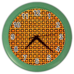 Halloween Squares Plaid Orange Color Wall Clocks by Mariart