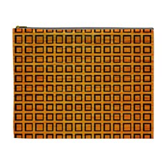 Halloween Squares Plaid Orange Cosmetic Bag (xl) by Mariart