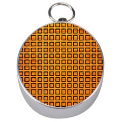 Halloween Squares Plaid Orange Silver Compasses by Mariart