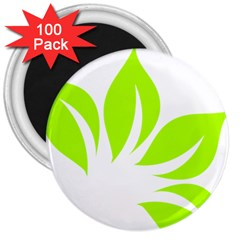 Leaf Green White 3  Magnets (100 Pack) by Mariart
