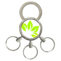 Leaf Green White 3 Ring Key Chains