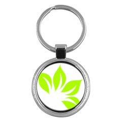 Leaf Green White Key Chains (round)  by Mariart