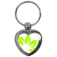 Leaf Green White Key Chains (heart)  by Mariart