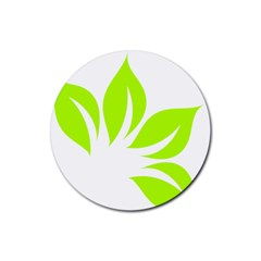 Leaf Green White Rubber Coaster (round)  by Mariart