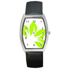 Leaf Green White Barrel Style Metal Watch by Mariart