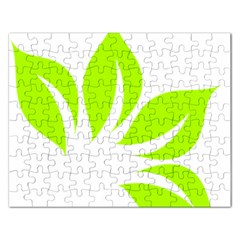 Leaf Green White Rectangular Jigsaw Puzzl by Mariart