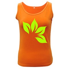Leaf Green White Women s Dark Tank Top