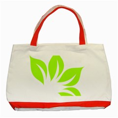 Leaf Green White Classic Tote Bag (red) by Mariart
