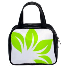 Leaf Green White Classic Handbags (2 Sides) by Mariart