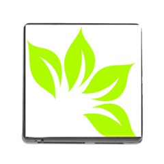 Leaf Green White Memory Card Reader (square) by Mariart