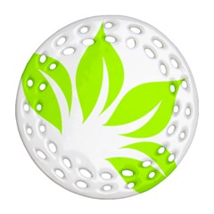 Leaf Green White Ornament (round Filigree) by Mariart