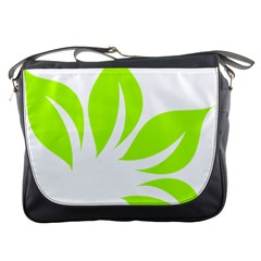 Leaf Green White Messenger Bags by Mariart