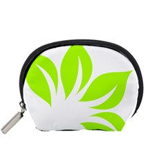 Leaf Green White Accessory Pouches (small)  by Mariart