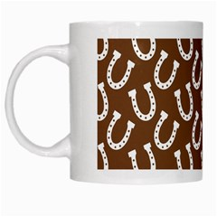 Horse Shoes Iron White Brown White Mugs by Mariart