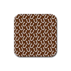 Horse Shoes Iron White Brown Rubber Square Coaster (4 Pack)  by Mariart