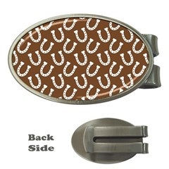 Horse Shoes Iron White Brown Money Clips (oval)  by Mariart
