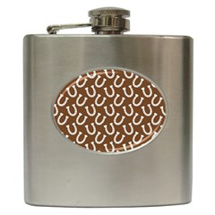 Horse Shoes Iron White Brown Hip Flask (6 Oz) by Mariart