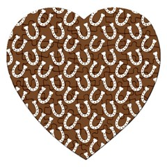 Horse Shoes Iron White Brown Jigsaw Puzzle (heart) by Mariart